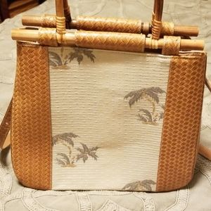 Brahmin Palm Tree Bag with bamboo handle and long